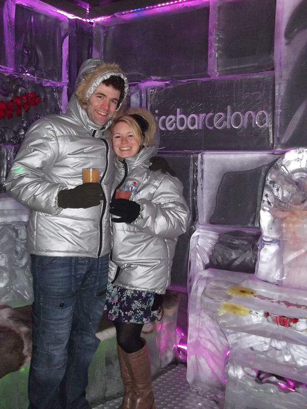 At the Ice Bar in Barcelona